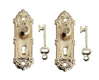 1:12 Scale Dollhouse Miniature Set of 2 Decorative Brass Door Knobs #CLA05578