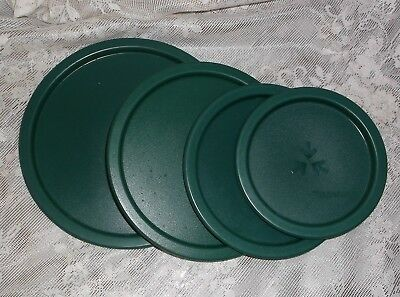 4 Tupperware One Touch Canister Lids Hunter Green A B C D