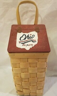 Ohio Bicentennial Basket w/ lid Handpainted 13.5 inches tall x 5 inches