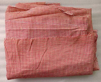 "Antique 19th Century Red Gingham Check Cotton Fabric 72"" x 82"" Free Shipping"