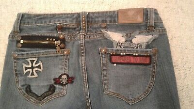 ANGEL JEANS SKULL PATCH Embelished Stretch Bootcut Size 9
