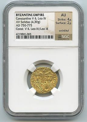 750-775 Byzantine Empire Gold Solidus Constantine II And Leo IV NGC AU