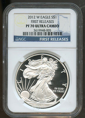 2012 W Silver Eagle $1 Ngc Proof 70 Ultra Cameo First Release