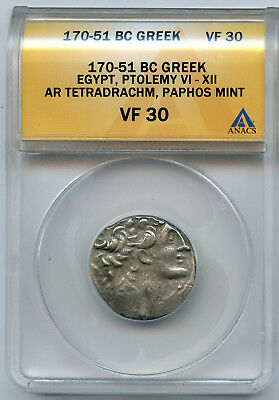 Ptolemy VI-XII Ancient Greek 170-51 BC Egypt AR Silver Tetradrachm ANACS VF 30