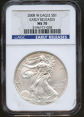 2008 W  American Silver Eagle Ngc Ms 70 Early Releases