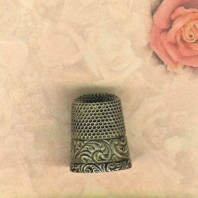 Sterling Silver Thimble w/ Fancy Engraved Band