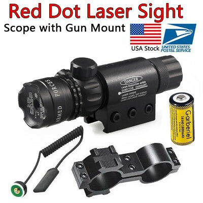 Tactical Hunting 16340 Red Dot Laser Sight Rifle Gun Scope Rail + Remote Switch