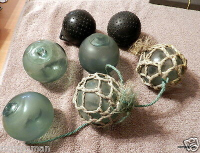 LOT OF 5 VINTAGE JAPANESE GLASS BALLS FISHING FLOATS & Bonus 3 Inch