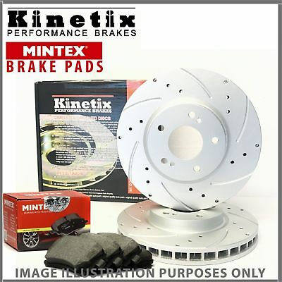 Kinetix Front Drilled Grooved Brake Discs Pads KDC2543 MDB3410