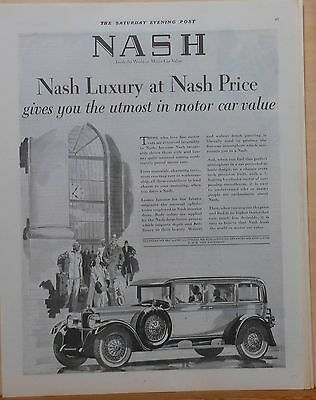 Vintage 1928 magazine ad for Nash - Standard Six, Luxury at Nash Prices