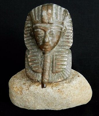 Vtg Antique Bronze Egyptian KING TUT Tutankhamen Statue Sculpture Rock Base