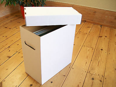 """12"""" VINYL RECORD STORAGE BOXES-x 1 DOUBLE WALL CARD! WHITE WITH LID!!!!!"""