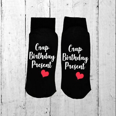 Novelty Crap Birthday Socks, Black Socks UK Adult Sizes 3-8 and 6-12 Gift