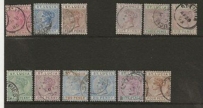 St Lucia  Sel.of Used  1883/96 Die I & Die Ii Qv Sets  Sg 32/4, 39/41 & 43/8