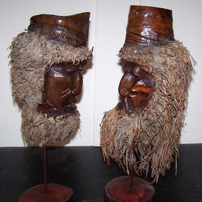 Two ANTIQUE JAPANESE ROOT CARVINGS Unusual ASIAN GENTLEMEN Hand Carved on STANDS