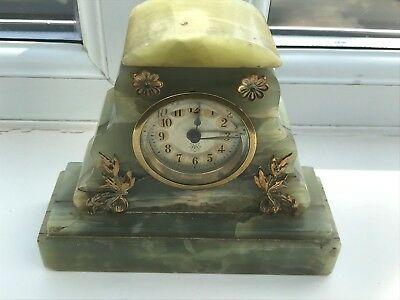ornate green onyx marble art deco clock - junghans . for repair !
