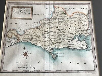 """late 1700s framed map """" a correct map of dorsetshire """""""
