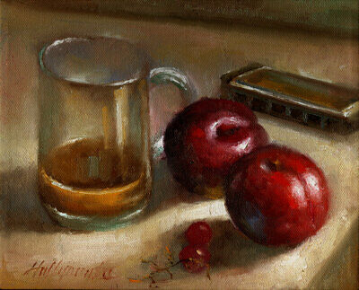 Harmonica, Plums and Coffee - Gift 8x10 in. Original Oil on canvas HALL GROAT II