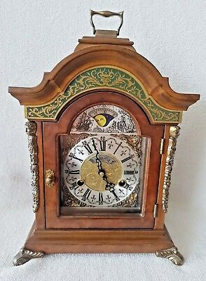 Warmink Mantel Clock Rare Dutch Green Banded 8 Day Moonphase Double Bells Shelf