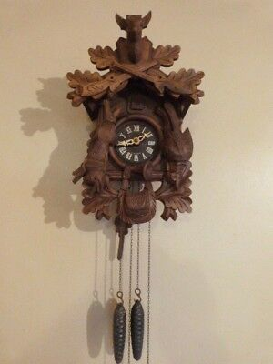 Lovely Vintage West German Black Forest Wooden Gravity Cuckoo Clock.