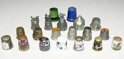 Lot of 20 Different Thimbles * Pewter Enameled World's Fair Hershey's Coalport