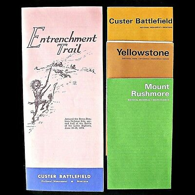 Entrenchment Trail Custer Battlefield Montana Booklet + 3 Vtg National Brochures