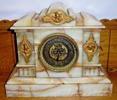 Antique Onyx Case Ansonia Mantle Clock w/ Open Escapement