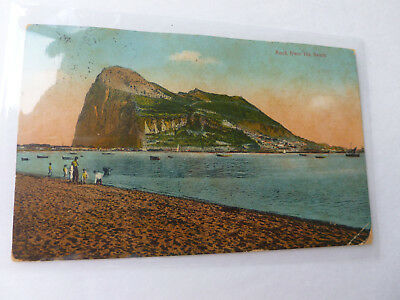 """Rock of Gibraltor Postcard With 3 Pence Stamp (""""Paqubot"""" Cancel)-Posted"""