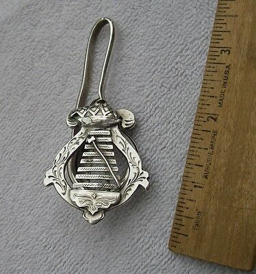 ANTIQUE Silver BELL LYRE Hanger w/ Split Ring-Applied Lyre Front-NR