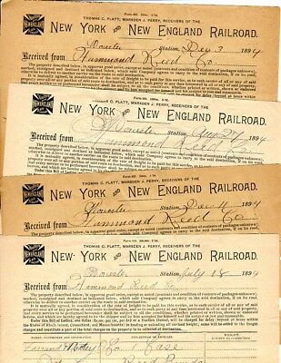 Rare Lot of 4 New York & New England Railroad 1894 Freight Bills Worcester MA.