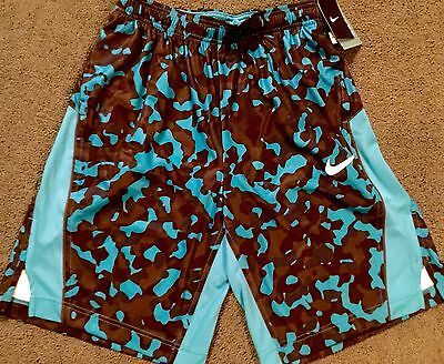 NWT Mens Nike L Light Blue/Navy/Black/Blue Camouflage Print Dri-Fit Shorts Large