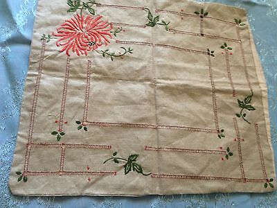 Beautiful Vintage Hand-Embroidered Linen Pillowcase