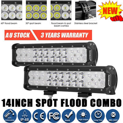 2x 14Inch Combo Cree Led Work Light Bar For Jeep Pickup ATV Truck Boat 12V 24V