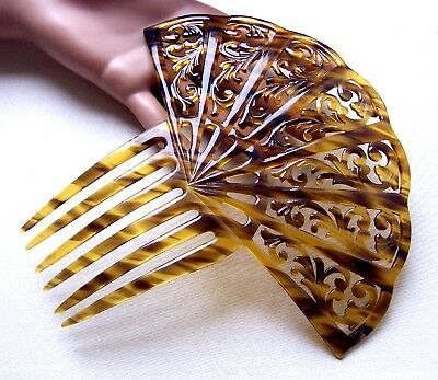 Large Art Deco hair comb celluloid faux tortoiseshell Spanish hair accessory