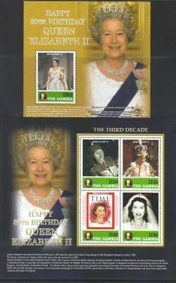 GAMBIA 2006 80th BIRTHDAY QE MNH SS & MS