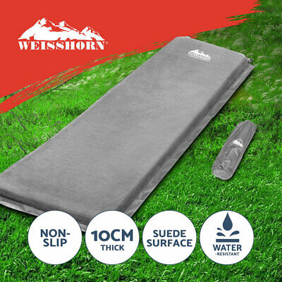 WEISSHORN Self Inflating Mattress Sleeping Mat Air Bed Camping Hiking Grey Suede