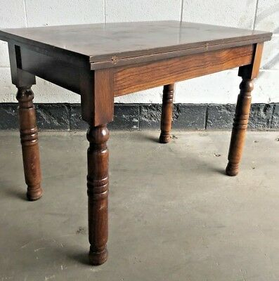 ANTIQUE OAK Farmhouse table FLIP TOP & TURN EXTENDING DINING or HALL TABLE