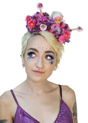 Frida Kahlo Style Eye Doll Pom Pom Festival Flower Crown Headband Headdress