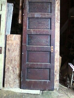Antique vintage door all wood...5 raised panels..30x98 approx size