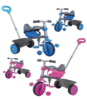Childrens Pedal Bike Trike Tricycle Kids 2-in-1 Push Along Buggy Parents Control