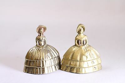 Two Victorian Dutch Brass Tea Dinner Bells VINTAGE Made in Korea FEET AS CLAPPER