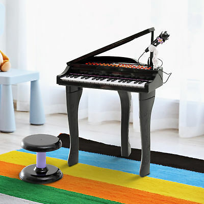 Kids Play Electronic Keyboard 37 Key Piano Toy W/ Stool & Microphone  Black