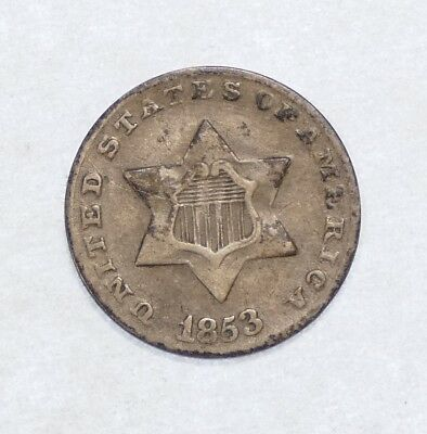 1853 Silver Three-Cent Piece FINE 3c Trime