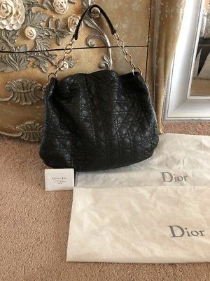 1200 Christian Dior Black Lady Dior Cannage Quilted Lambskin Large Hobo Bag c7badf8230b16