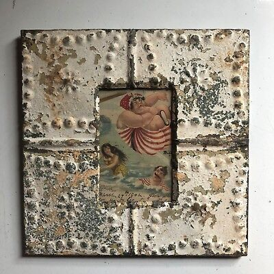 "Antique 1890's Ceiling Tin Picture Frame 4"" x 6"" Reclaimed Metal White 425-18"
