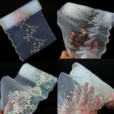 2/3Yds Polyester Embroidered Tulle Lace Trim Dress Costume Belt DIY Sewing Craft