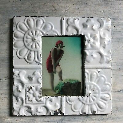 "1890's Antique Ceiling Tin Picture Frame 5"" x 7""  White Metal Reclaimed 431-18"