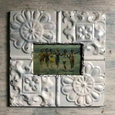 "Antique 1890's Ceiling Tin Picture Frame 4"" x 6"" Reclaimed Metal White 445-18"