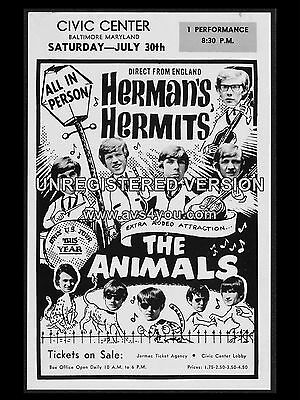 "Hermans Hermits / Animals Civic 16"" x 12"" Photo Repro Concert Poster"
