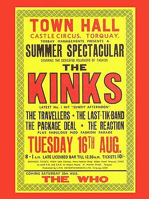 "The Kinks Torquay 16"" x 12"" Photo Repro Concert Poster"